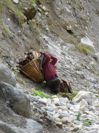 Femme rapportant un lourd fardeau de bois