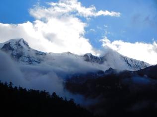 Vue sur les Annapurnas depuis notre chambre