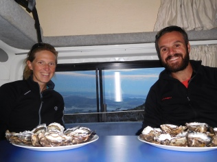 Les huîtres tasmanes avec panorama