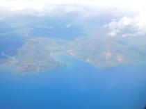 Vue des mines à ciel ouvert depuis l'avion