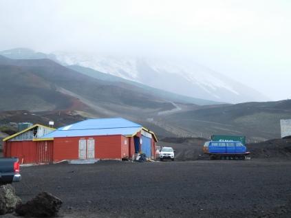 Vue du volcan depuis le bas des télésièges